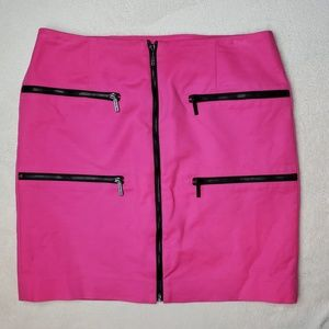 Michael Kors Hot Pink Zippers Mini Skirt, Size 2
